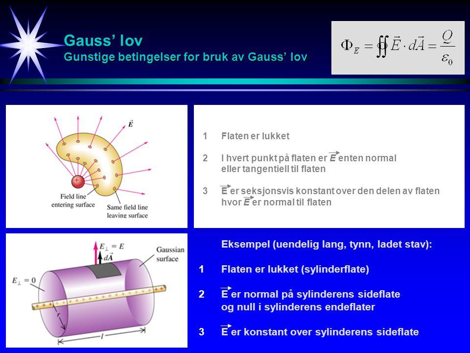 Gauss' lov Gunstige betingelser for bruk av Gauss' lov Flaten er lukket I hvert punkt på flaten er E enten normal eller tangentiell til flaten E er seksjonsvis konstant over den delen av flaten hvor E er normal til flaten 123123 Eksempel (uendelig lang, tynn, ladet stav): Flaten er lukket (sylinderflate) E er normal på sylinderens sideflate og null i sylinderens endeflater E er konstant over sylinderens sideflate 123123