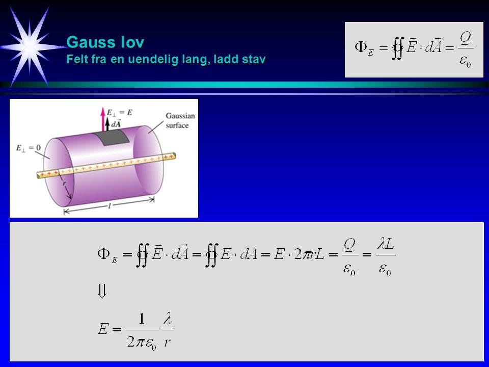 Gauss lov Felt fra en uendelig lang, ladd stav