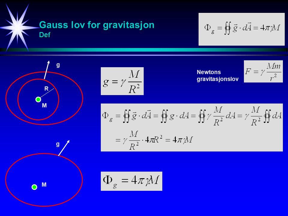 Gauss lov for gravitasjon Def R g g M M Newtons gravitasjonslov