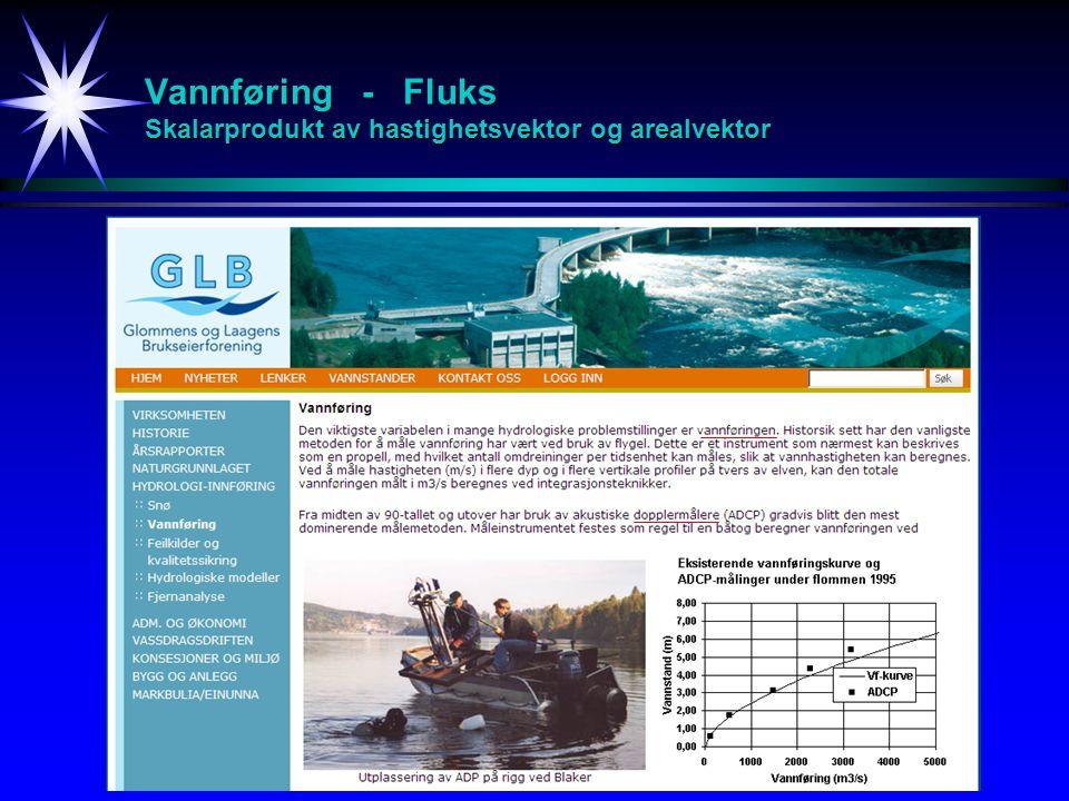 Vannføring - Fluks Skalarprodukt av hastighetsvektor og arealvektor