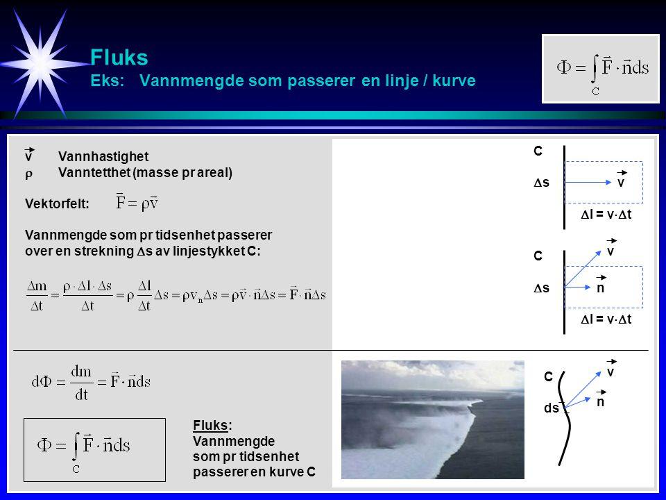 Fluks Eks: Vannmengde som passerer en linje / kurve ss  l = v  t v vVannhastighet  Vanntetthet (masse pr areal) Vannmengde som pr tidsenhet passerer over en strekning  s av linjestykket C: C Vektorfelt: ss  l = v  t v C n dsds v n C Fluks: Vannmengde som pr tidsenhet passerer en kurve C