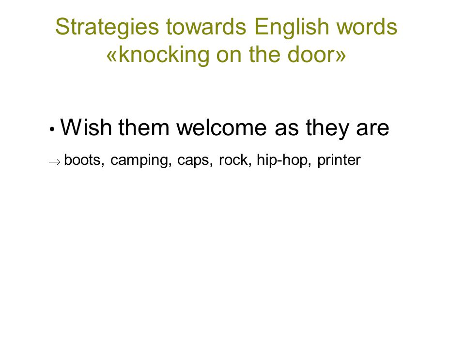 Strategies towards English words «knocking on the door» • Wish them welcome as they are  boots, camping, caps, rock, hip-hop, printer