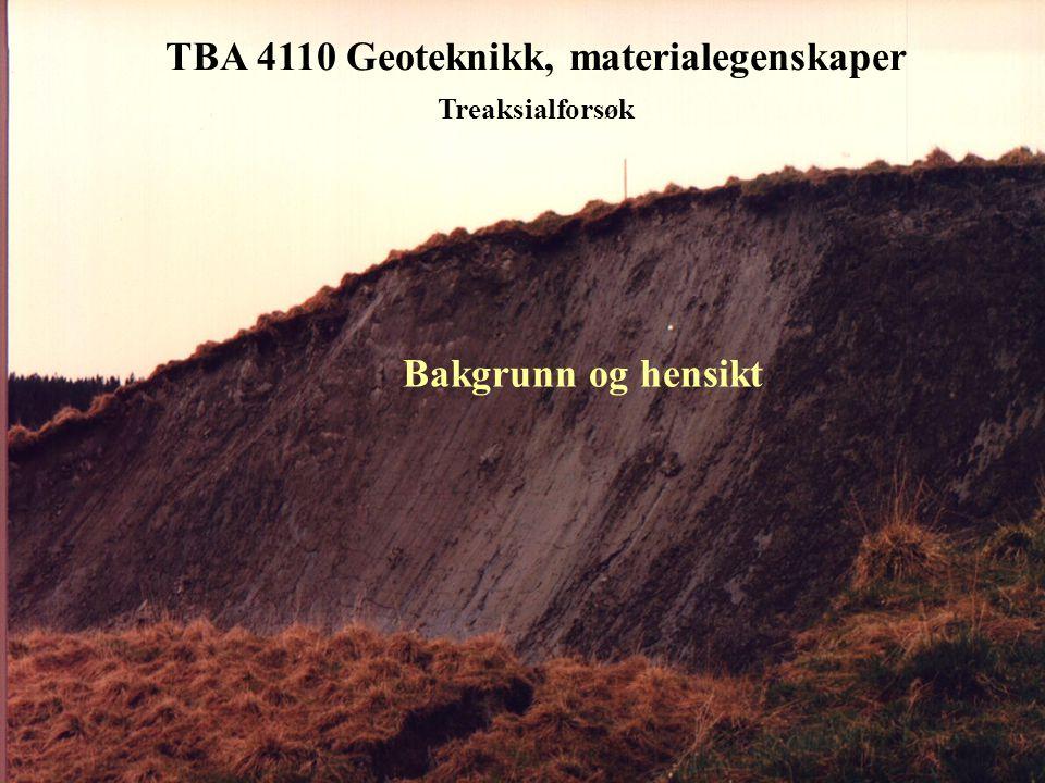 TBA 4110 Geoteknikk, materialegenskaper Treaksialforsøket - konsolideringsfasen • Drenert konsolideringsfase • Avlesing av utpresset porevann  V mot tid t • Vannutpressing skal stabiliseres nær 0 • Restporetrykk u r skal være stabilt nær 0 ved lukking av drenskran • Volumtøyning  vol =  V/V o benyttes som kriterium for prøvekvalitet (se tabell Berre (1982))