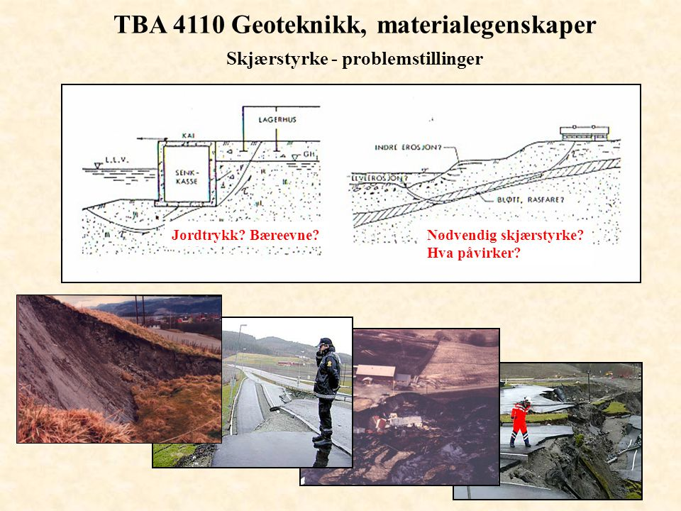 TBA 4110 Geoteknikk, materialegenskaper Skjærstyrke - problemstillinger Nødvendig skjærstyrke? Hva påvirker? Jordtrykk? Bæreevne?