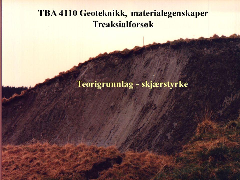 TBA 4110 Geoteknikk, materialegenskaper Ødotreaksialforsøk - prinsippiell spenningstilstand