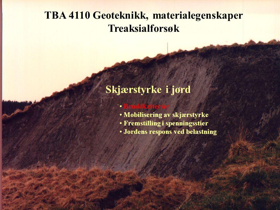 TBA 4110 Geoteknikk, materialegenskaper Treaksialforsøket - typisk oppførsel for sand/silt Oppførsel hos silt • Bruddtøyning  = 1-3 % • Vanligvis plastisk/kontraktant bruddutvikling for løs, fin silt • Ofte dilatant bruddutvikling for fast, grov silt • Attraksjon a = 0 - 30 kPa • Friksjon tan  = 0.55 - 0.75 Oppførsel hos sand • Bruddtøyning  = 2-4 % • Vanligvis dilatant bruddutvikling for sand, bortsett fra svært løs lagring • Attraksjon a = 0 - 15 kPa • Friksjon tan  = 0.55 - 0.90 CCV konstant volum, udrenert CID, drenert