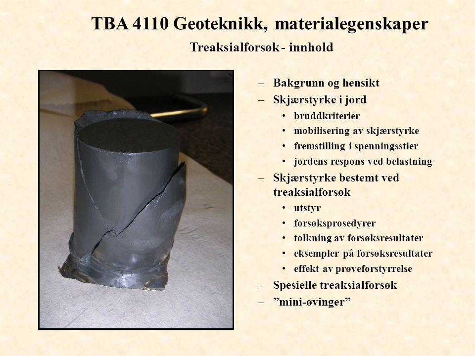 TBA 4110 Geoteknikk, materialegenskaper Treaksialforsøket - fremstilling i spenningsstier 1 SfSf tan  = S f /  1 + 2S f tan  = S/  1 + 2S 1 S