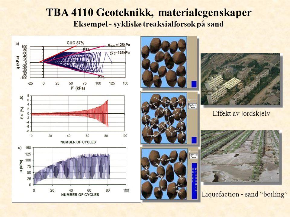 """TBA 4110 Geoteknikk, materialegenskaper Eksempel - sykliske treaksialforsøk på sand Effekt av jordskjelv Liquefaction - sand """"boiling"""""""