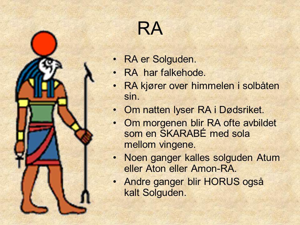 RA •RA er Solguden. •RA har falkehode. •RA kjører over himmelen i solbåten sin. •Om natten lyser RA i Dødsriket. •Om morgenen blir RA ofte avbildet so