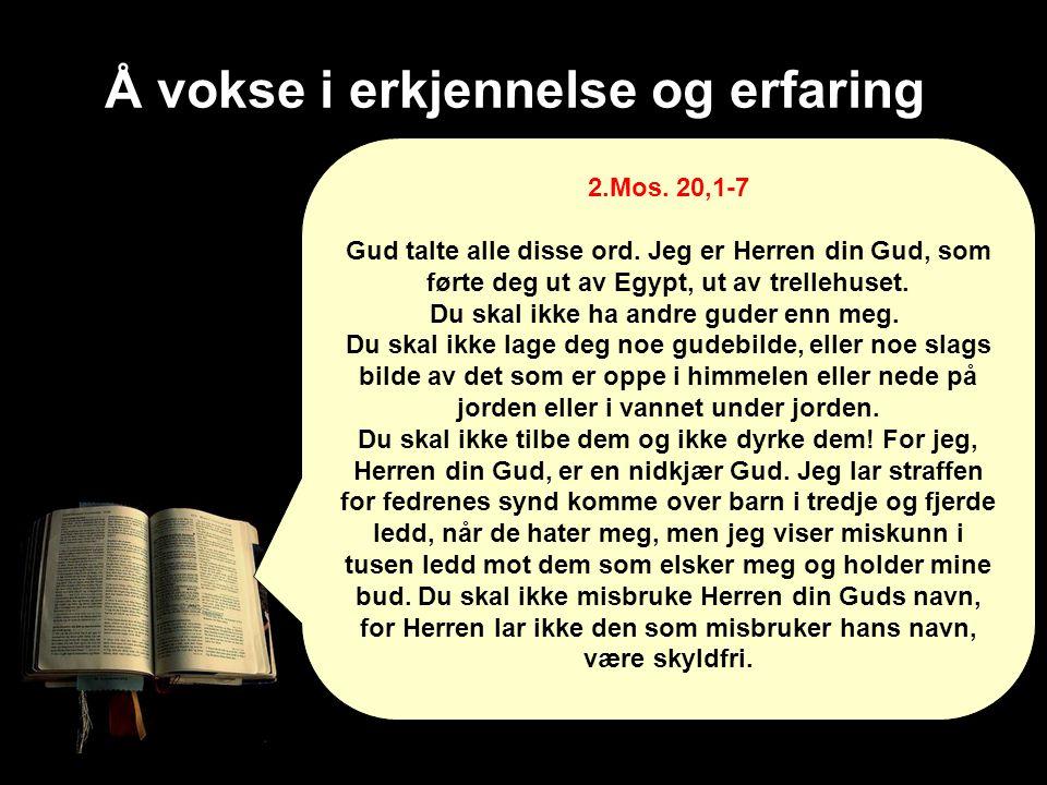 Å vokse i erkjennelse og erfaring 2.Mos. 20,1-7 Gud talte alle disse ord. Jeg er Herren din Gud, som førte deg ut av Egypt, ut av trellehuset. Du skal