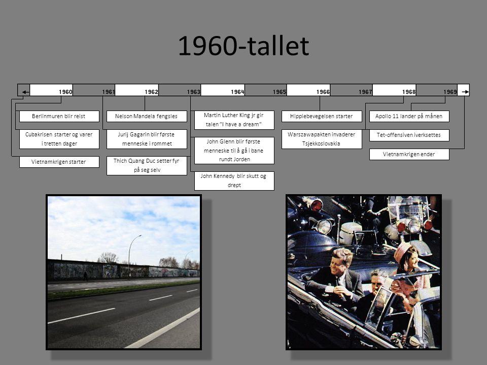 1960-tallet Berlinmuren blir reist Cubakrisen starter og varer i tretten dager Vietnamkrigen starter Vietnamkrigen ender Hippiebevegelsen starter Juri