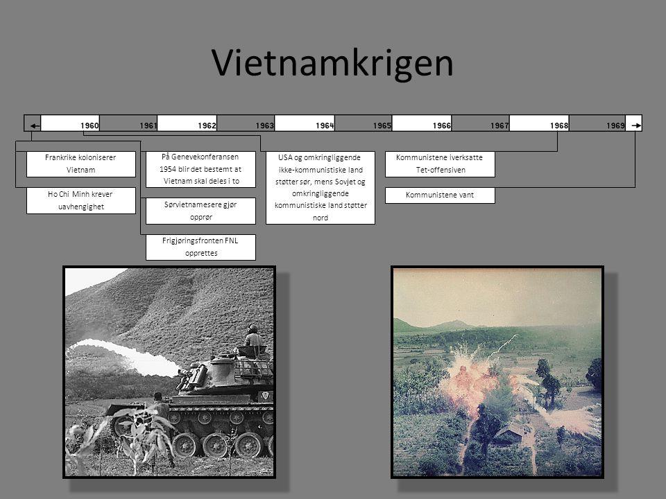 Vietnamkrigen Frankrike koloniserer Vietnam Ho Chi Minh krever uavhengighet På Genevekonferansen 1954 blir det bestemt at Vietnam skal deles i to Sørv