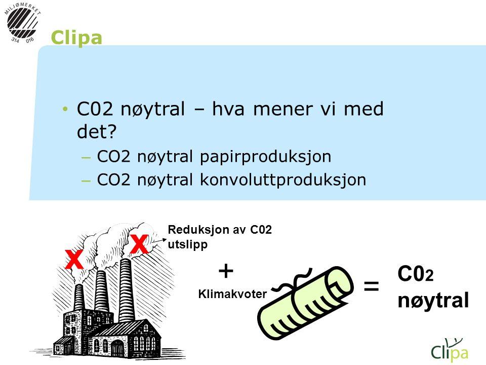 Clipa • C02 nøytral – hva mener vi med det? – CO2 nøytral papirproduksjon – CO2 nøytral konvoluttproduksjon x x Reduksjon av C02 utslipp Klimakvoter +
