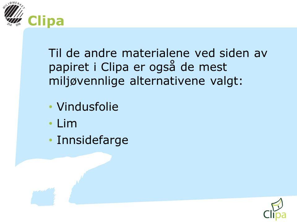 Clipa Til de andre materialene ved siden av papiret i Clipa er også de mest miljøvennlige alternativene valgt: • Vindusfolie • Lim • Innsidefarge