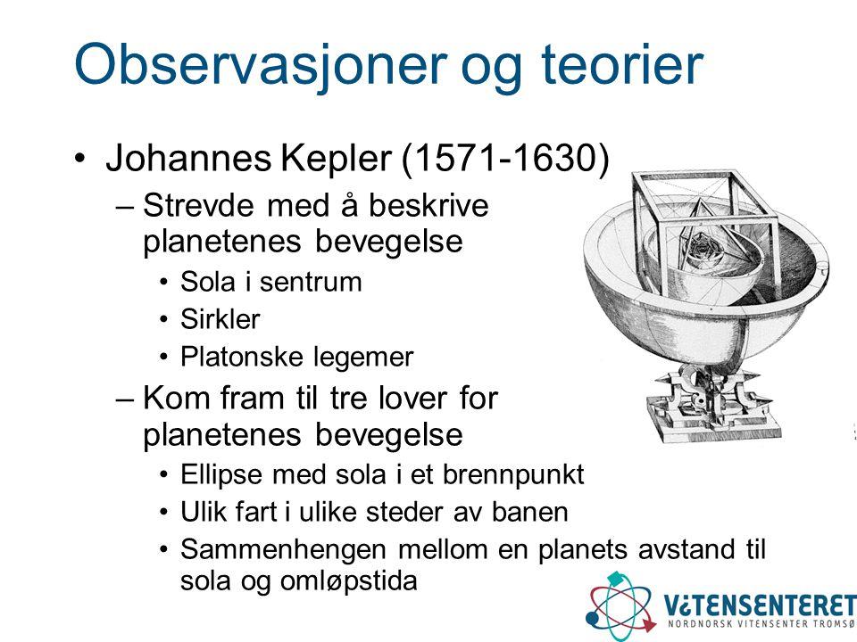 Observasjoner og teorier •Johannes Kepler (1571-1630) –Strevde med å beskrive planetenes bevegelse •Sola i sentrum •Sirkler •Platonske legemer –Kom fr
