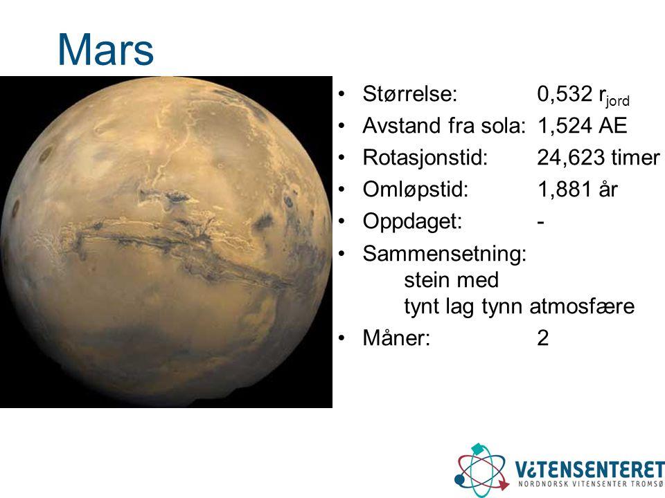 Mars •Størrelse: 0,532 r jord •Avstand fra sola: 1,524 AE •Rotasjonstid: 24,623 timer •Omløpstid: 1,881 år •Oppdaget: - •Sammensetning: stein med tynt