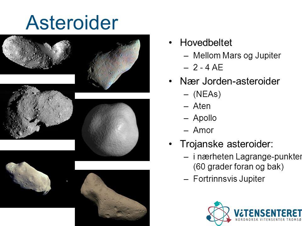 Asteroider •Hovedbeltet –Mellom Mars og Jupiter –2 - 4 AE •Nær Jorden-asteroider –(NEAs) –Aten –Apollo –Amor •Trojanske asteroider: –i nærheten Lagran