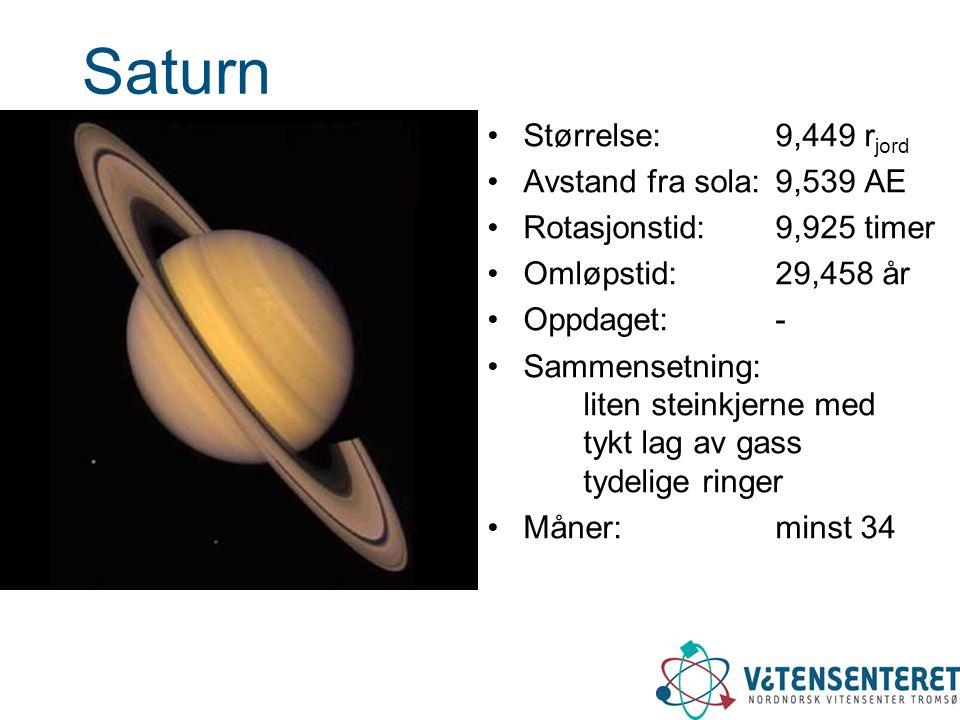Saturn •Størrelse: 9,449 r jord •Avstand fra sola: 9,539 AE •Rotasjonstid: 9,925 timer •Omløpstid: 29,458 år •Oppdaget: - •Sammensetning: liten steink