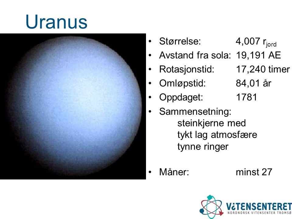 Uranus •Størrelse: 4,007 r jord •Avstand fra sola: 19,191 AE •Rotasjonstid:17,240 timer •Omløpstid: 84,01 år •Oppdaget: 1781 •Sammensetning: steinkjer
