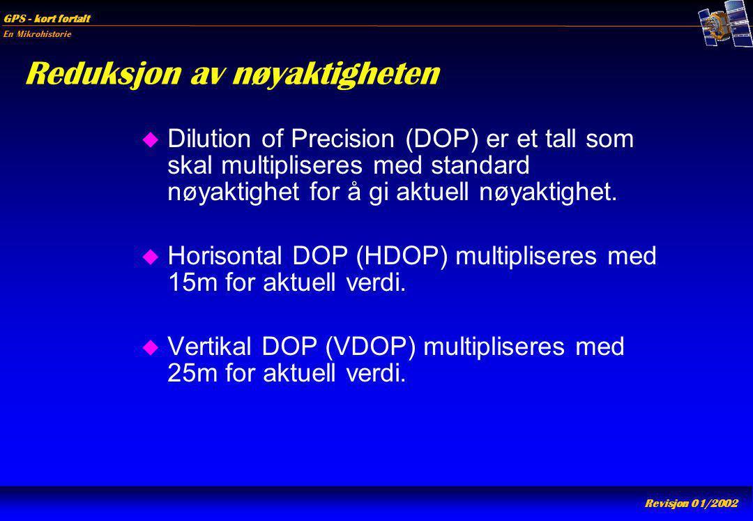 En Mikrohistorie GPS - kort fortalt Revisjon 01/2002 Reduksjon av nøyaktigheten u Dilution of Precision (DOP) er et tall som skal multipliseres med st