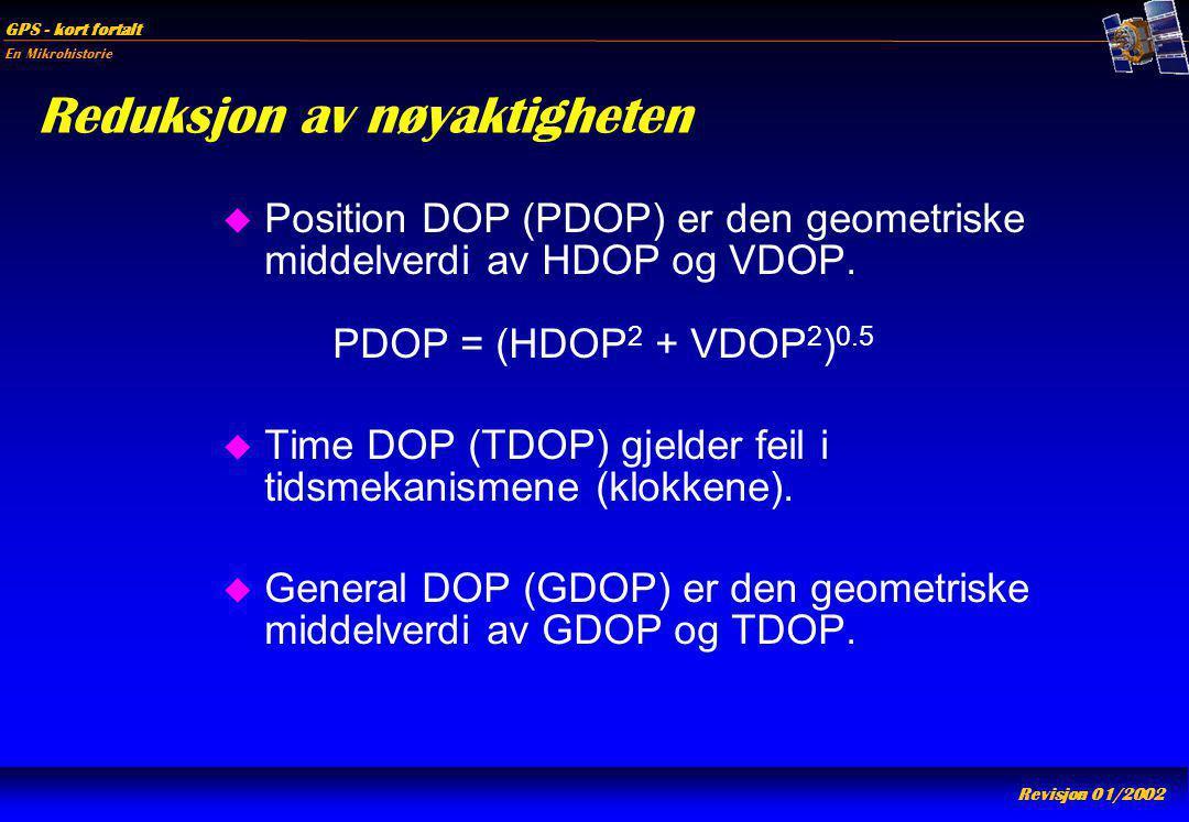 En Mikrohistorie GPS - kort fortalt Revisjon 01/2002 Reduksjon av nøyaktigheten u Position DOP (PDOP) er den geometriske middelverdi av HDOP og VDOP.