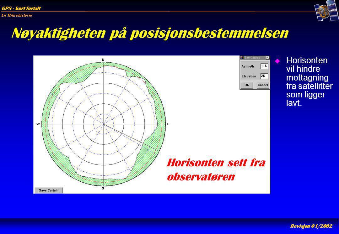 En Mikrohistorie GPS - kort fortalt Revisjon 01/2002 Nøyaktigheten på posisjonsbestemmelsen u Horisonten vil hindre mottagning fra satellitter som lig