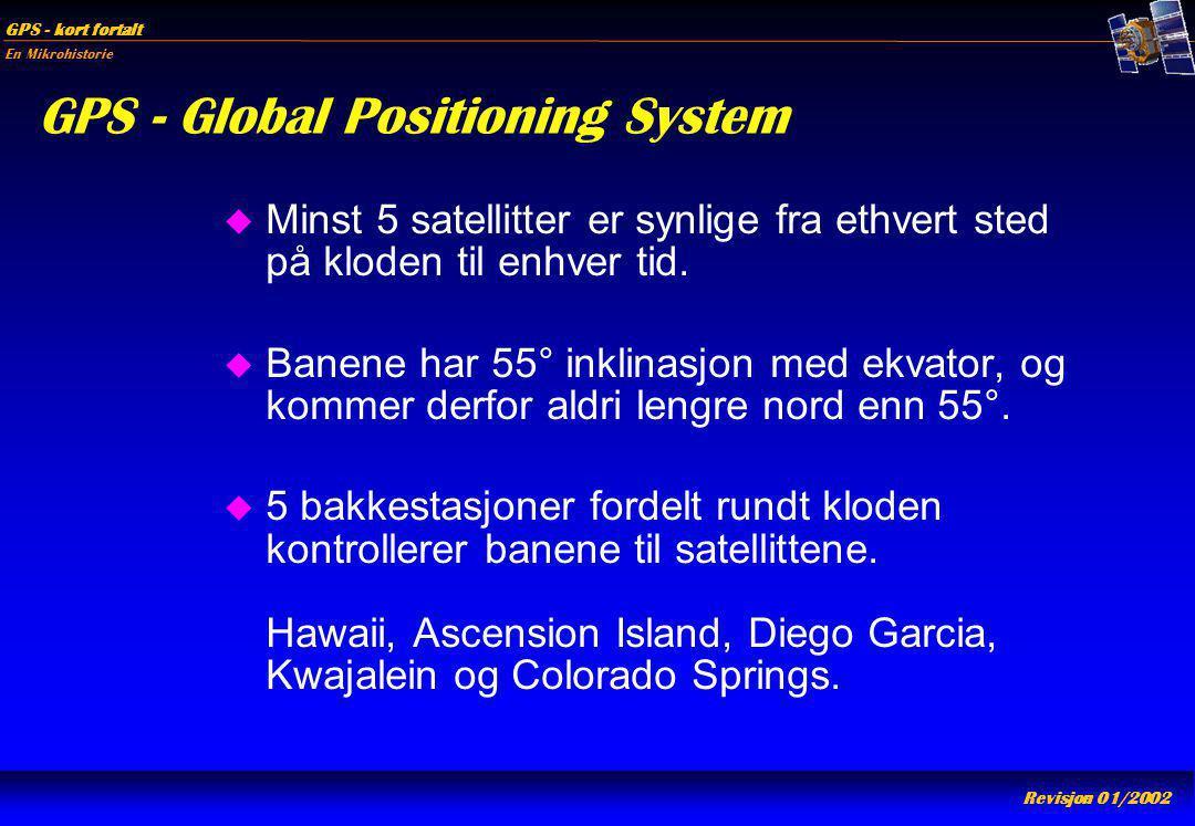 En Mikrohistorie GPS - kort fortalt Revisjon 01/2002 GPS - Global Positioning System u Minst 5 satellitter er synlige fra ethvert sted på kloden til e
