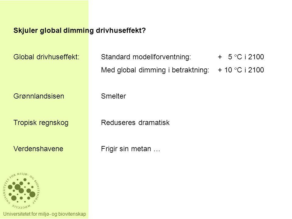 Universitetet for miljø- og biovitenskap Skjuler global dimming drivhuseffekt? Global drivhuseffekt:Standard modellforventning:+ 5  C i 2100 Med glob