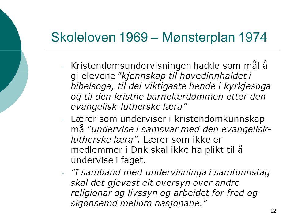 """12 Skoleloven 1969 – Mønsterplan 1974 - Kristendomsundervisningen hadde som mål å gi elevene """"kjennskap til hovedinnhaldet i bibelsoga, til dei viktig"""