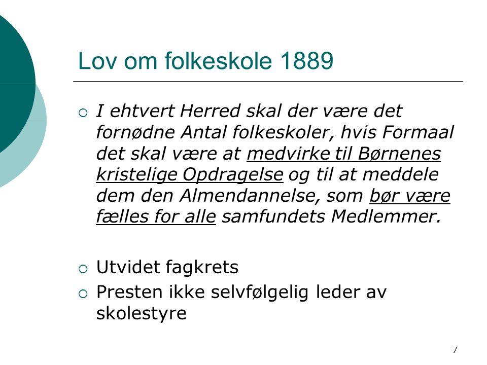 7 Lov om folkeskole 1889  I ehtvert Herred skal der være det fornødne Antal folkeskoler, hvis Formaal det skal være at medvirke til Børnenes kristeli