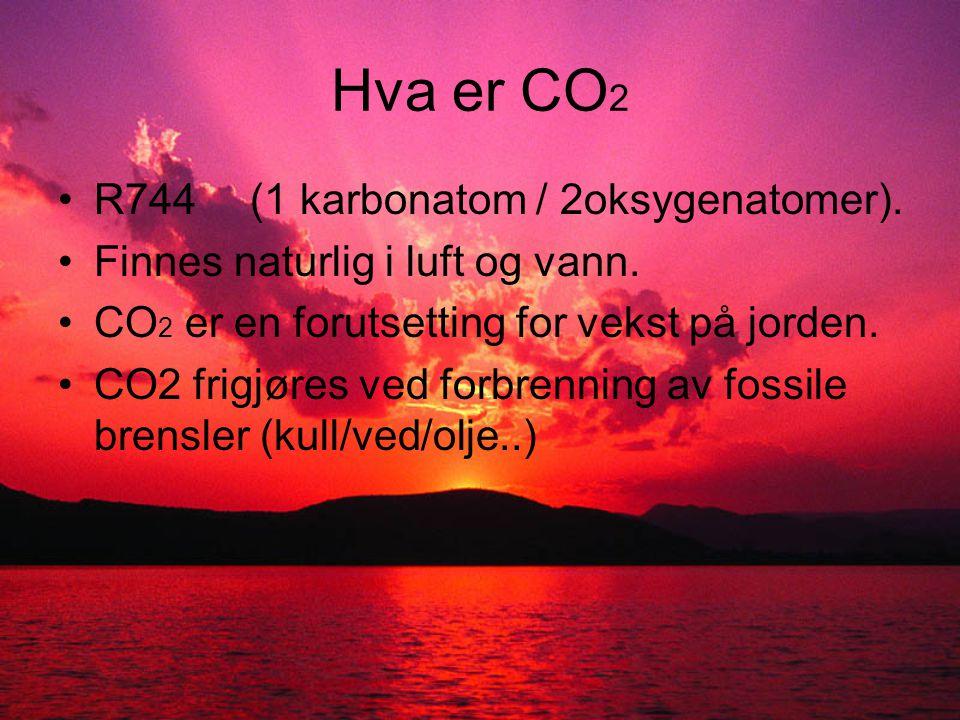 Hva er unikt med CO 2 •Dagens kuldemedium (fluorkarbon-kjemikalier) bidrar til ozonnedbryting og drivhuseffekt, CO 2 er naturlig.