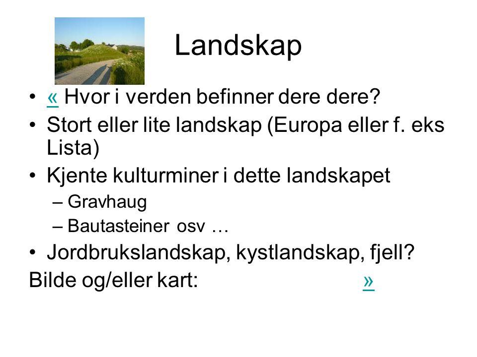 Landskap •« Hvor i verden befinner dere dere?« •Stort eller lite landskap (Europa eller f. eks Lista) •Kjente kulturminer i dette landskapet –Gravhaug