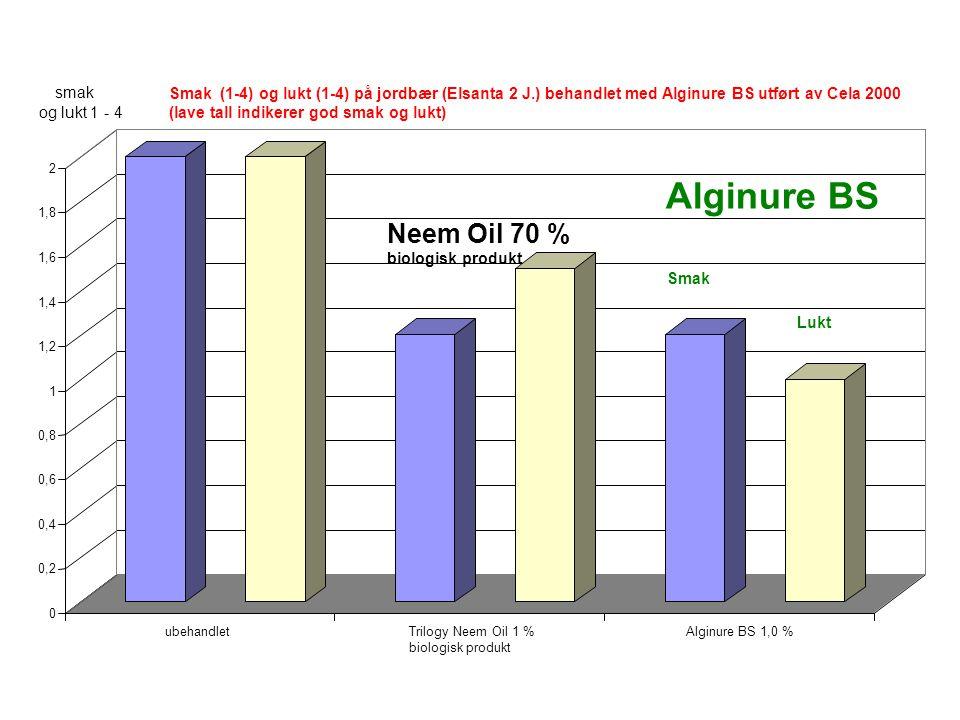 0 0,2 0,4 0,6 0,8 1 1,2 1,4 1,6 1,8 2 ubehandletTrilogy Neem Oil 1 % biologisk produkt Alginure BS 1,0 % Smak (1-4) og lukt (1-4) på jordbær (Elsanta 2 J.) behandlet med Alginure BS utført av Cela 2000 (lave tall indikerer god smak og lukt) smak og lukt 1 - 4 Lukt Smak Alginure BS Neem Oil 70 % biologisk produkt