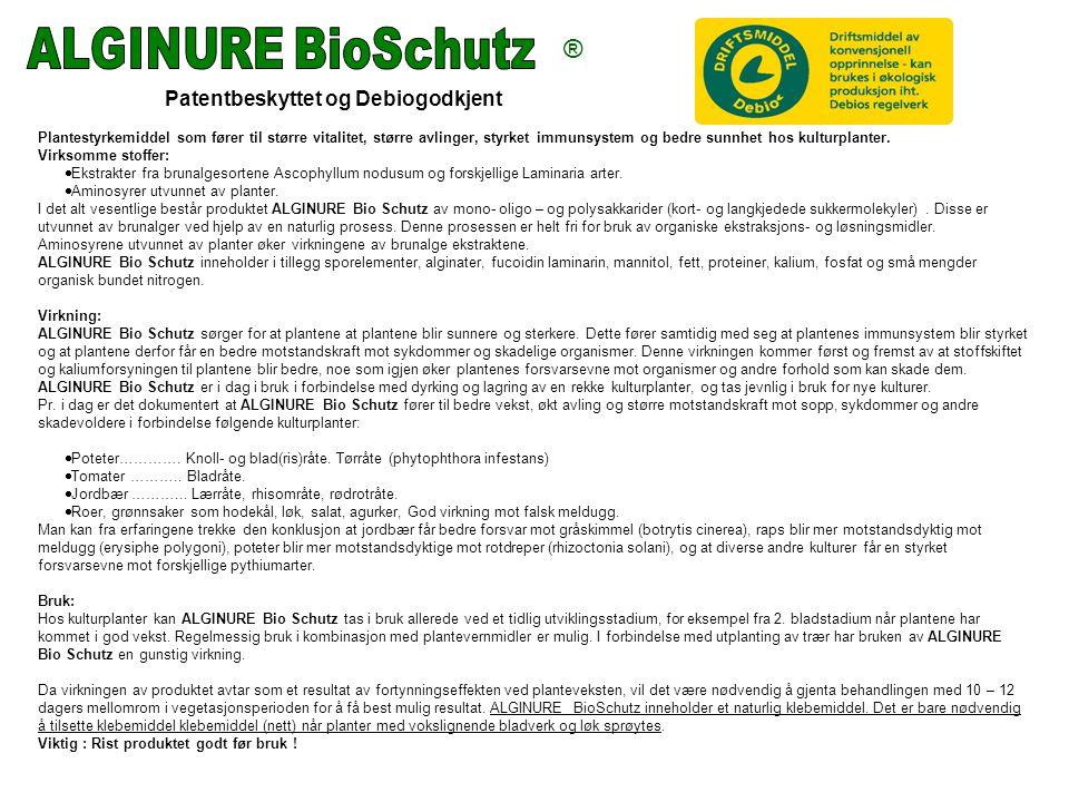 Patentbeskyttet og Debiogodkjent Plantestyrkemiddel som fører til større vitalitet, større avlinger, styrket immunsystem og bedre sunnhet hos kulturplanter.