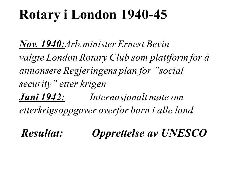 """Nov. 1940:Arb.minister Ernest Bevin valgte London Rotary Club som plattform for å annonsere Regjeringens plan for """"social security"""" etter krigen Juni"""