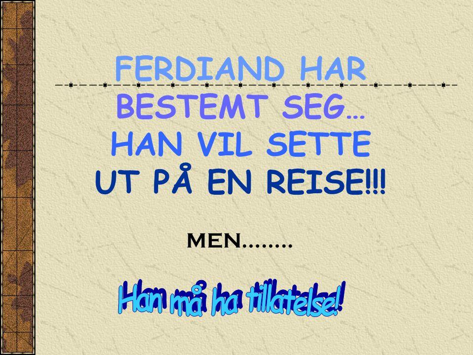 FERDIAND HAR BESTEMT SEG… HAN VIL SETTE UT PÅ EN REISE!!! MEN……..