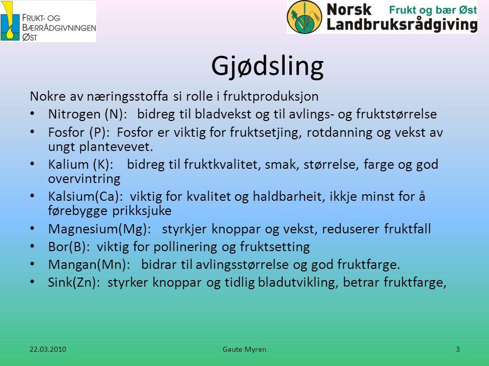 Eksempel: på jordprøve med eple normal vekst • Jordtype • N-behov • P, K • Mg/kalking