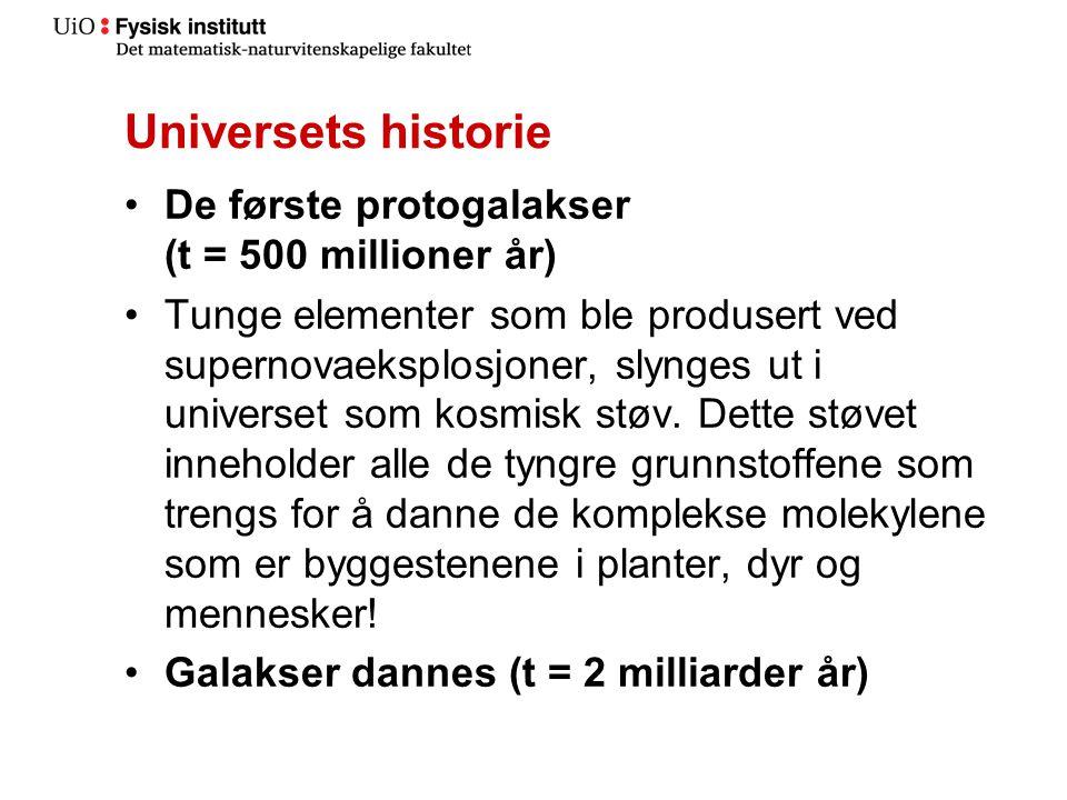 Universets historie •De første protogalakser (t = 500 millioner år) •Tunge elementer som ble produsert ved supernovaeksplosjoner, slynges ut i universet som kosmisk støv.