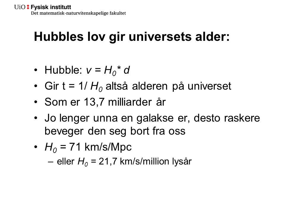 Hubbles lov gir universets alder: •Hubble: v = H 0 * d •Gir t = 1/ H 0 altså alderen på universet •Som er 13,7 milliarder år •Jo lenger unna en galakse er, desto raskere beveger den seg bort fra oss •H 0 = 71 km/s/Mpc –eller H 0 = 21,7 km/s/million lysår