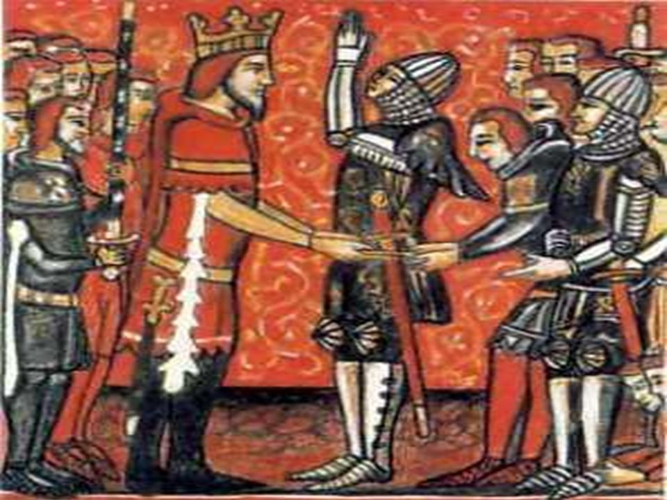 Føydalismen  Kongen var avhengig av forholdet til godseierne, som hadde soldater  Etter høytidlig seremoni inngikk kongen og godseiere et tillitsbånd, og godseieren ble kronvasall  Godseieren stilte med soldater, mens kongen gav land, len , og godseieren ble da lensherre  Føydalismen blir også kalt lensvesenet  Senere ble disse lensherrene en del av kongens embetsmenn og administrasjon