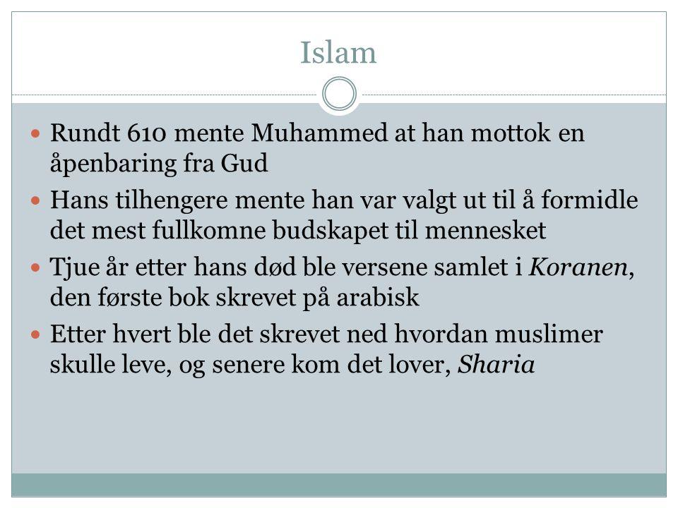 Islam  Rundt 610 mente Muhammed at han mottok en åpenbaring fra Gud  Hans tilhengere mente han var valgt ut til å formidle det mest fullkomne budska