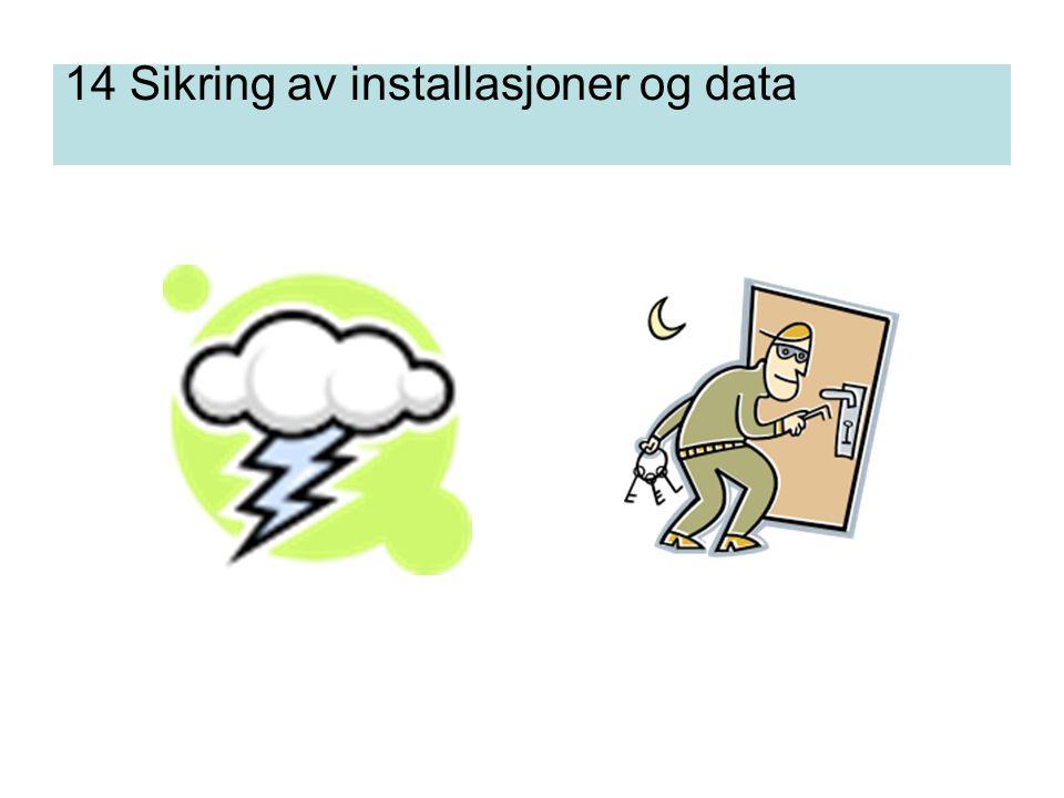 14 Sikring av installasjoner og data