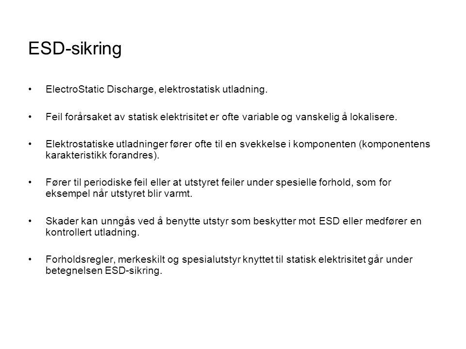 ESD-sikring •ElectroStatic Discharge, elektrostatisk utladning.