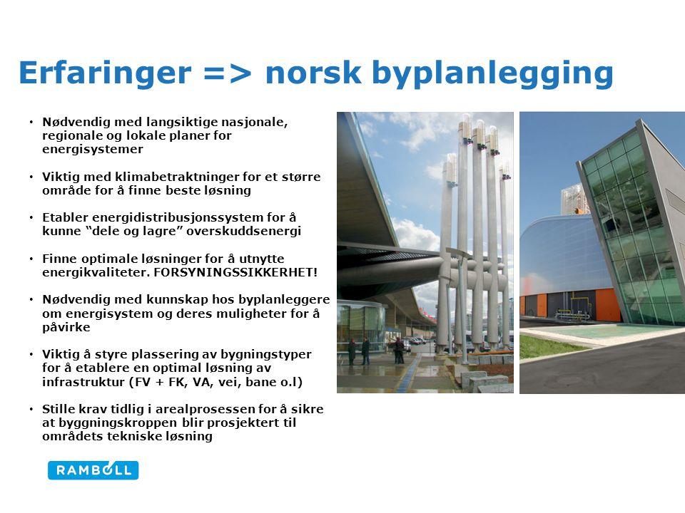 Erfaringer => norsk byplanlegging • Nødvendig med langsiktige nasjonale, regionale og lokale planer for energisystemer • Viktig med klimabetraktninger