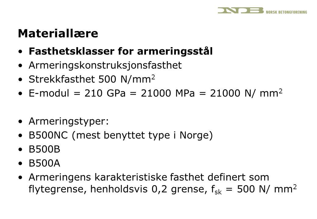 Materiallære •Fasthetsklasser for armeringsstål •Armeringskonstruksjonsfasthet •Strekkfasthet 500 N/mm 2 •E-modul = 210 GPa = 21000 MPa = 21000 N/ mm