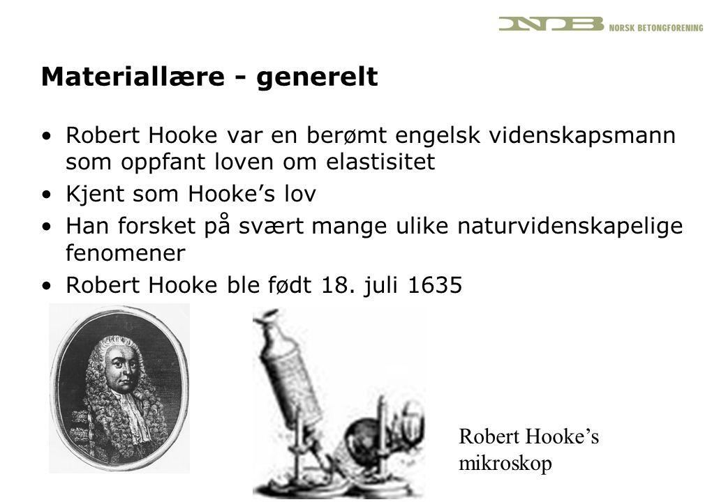 Materiallære - generelt •Robert Hooke var en berømt engelsk videnskapsmann som oppfant loven om elastisitet •Kjent som Hooke's lov •Han forsket på svæ