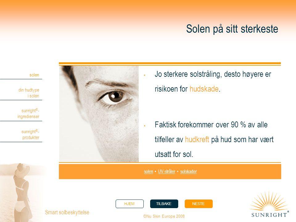 HJEMTILBAKENESTE solen din hudtype i solen sunright ® - ingredienser sunright ® - produkter ©Nu Skin Europe 2008 Smart solbeskyttelse Solen på sitt st