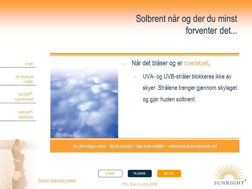 HJEMTILBAKENESTE solen din hudtype i solen sunright ® - ingredienser sunright ® - produkter ©Nu Skin Europe 2008 Smart solbeskyttelse Solbrent når og