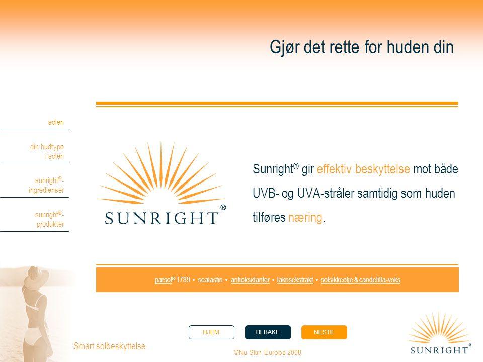 HJEMTILBAKENESTE solen din hudtype i solen sunright ® - ingredienser sunright ® - produkter ©Nu Skin Europe 2008 Smart solbeskyttelse Gjør det rette f