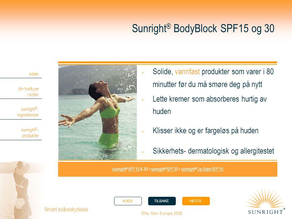 HJEMTILBAKENESTE solen din hudtype i solen sunright ® - ingredienser sunright ® - produkter ©Nu Skin Europe 2008 Smart solbeskyttelse Sunright ® BodyB